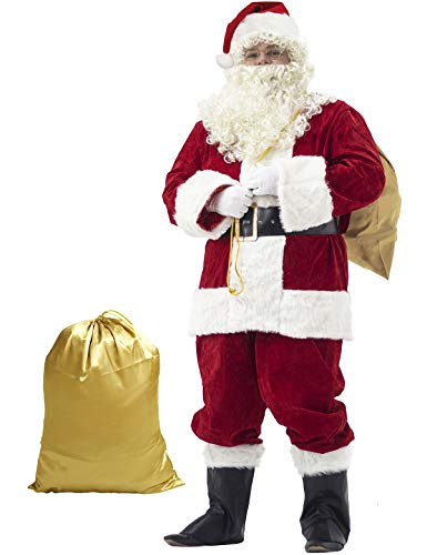 Ahititi Santa Suit Adult Costume 10pc. S Red -