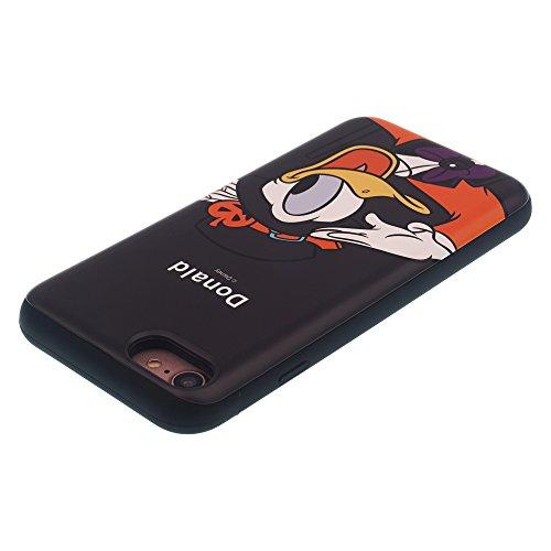 Funda iPhone 7 [Protección híbrida contra caídas] DISNEY Mickey Mouse Linda Doble Capa Hybrid Carcasas [TPU + PC] Parachoques Cubierta para [ Apple iPhone7 ] - Mickey Mouse Back Festival Donald Duck (iPhone 8 / iPhone 7)