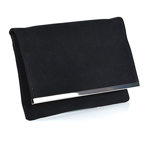 Essex Glam Womens Black Faux Suede Envelope Party Purse Ladies Evening Shoulder Strap Clutch Bag