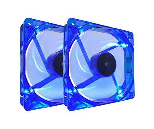 Apevia AF212L-BL 120mm 4pin Molex + 3pin Motherboard Silent Blue LED Case Fan (2-pk)