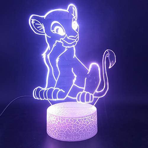 Le Roi Lion 3d Illusion Lampe Veilleuse De Gradient De 7 Couleurs Led Lampe De Table De Crack Smart Touch Lampe De Chevet Amazon Fr Luminaires Et Eclairage