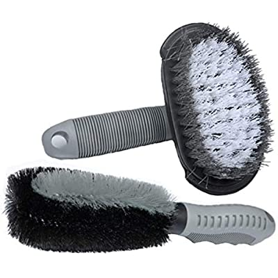 MATTC 2Pack Car Wheel Cleaning Brush Tire Rim Scrub Brush Soft Alloy Brush Cleaner Tie Auto Motorcycle Bike Wheel Cleaning Tool: Automotive