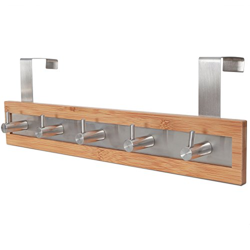 ToiletTree Products Bamboo Wood & Stainless Steel Over the Door Towel Rack, 5 Hooks (Towels Bathroom Ways To In Hang)
