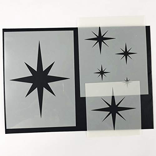 (8-POINT STAR SET OF 6 Furniture Wall Floor Stencil for Paint)