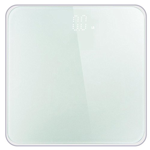 Transer- [US Stock] Digital Body Weight Bathroom Scale With Large LCD Screen, Body Tape Tempered Glass, Step-On Technology, 400 Pounds (White) by Transer-