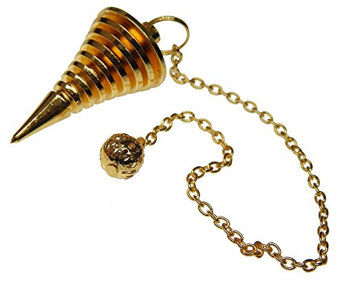 (Myhealingworld Handmade 9 Ring Plate Brass Metaphysical Reiki Dowsing Pendulum With 8 Inch Long Chain)