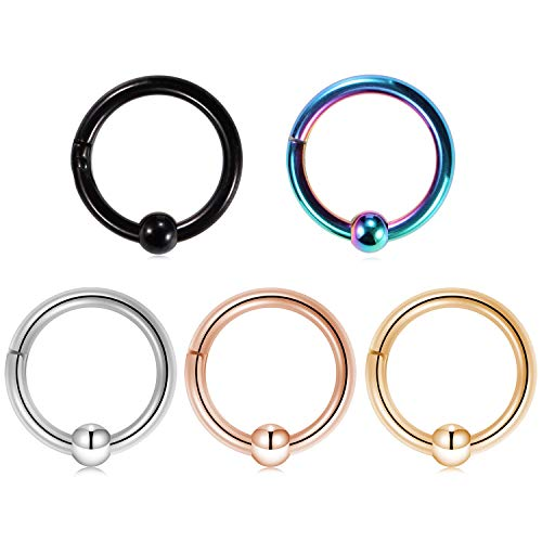 Kangyijia 16G Captive Bead Clicker Ring 5/16 Inch (8mm) Nose Ring Hoop Ear Lip Piercing Clicker Rings 5Pcs Rainbow