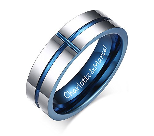 XUANPAI Custom Engraving Two-tone Tungsten Carbide Sideways Cross Ring Band for Men Women,Size (Id Two Tone Ring)