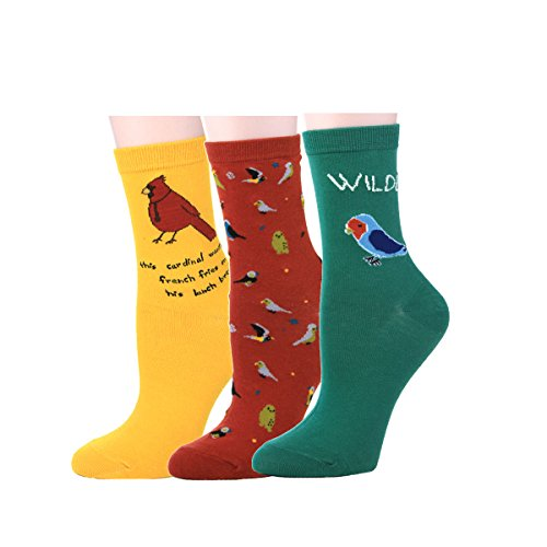 zmart-3-pack-women-girls-cute-birds-funny-colorful-crew-cotton-fun-socks