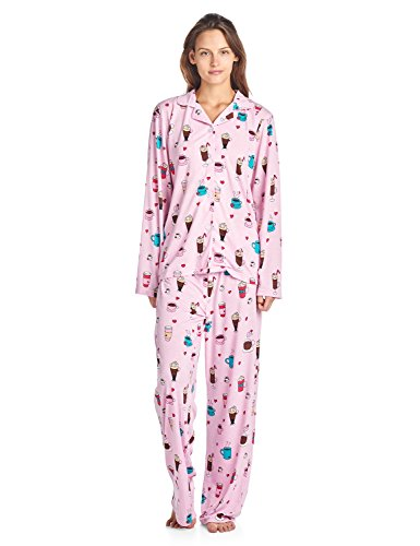 Bed Pjs Head - BedHead Pajamas BHPJ by Women's Brushed Back Soft Knit Pajama Set - Lt. Pink Lattes and Shakes - Large