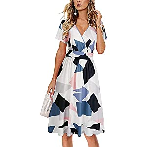 Short sleeves, A-line skirt, floral pattern pockets on both sides, breathable and skin-friendly, make you feel relaxed and comfortable. This V-neck pattern dress has a simple cut, knee length, and a simple waist wrap design, which is suitable for almost any occasion. Matching tips: shoulder bag; high heels; different types of shoes