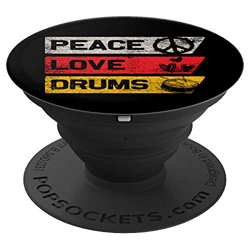 Drums Pop Socket - Peace Sign Love Heart Valentines Day Gift - PopSockets Grip and Stand for Phones and Tablets
