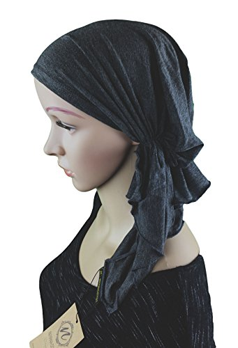 Luxurious Bamboo - Luxurious Bamboo Pre Tied Fitted Chemo Cancer | Tichel | Head Scarf | Bandana (Charcoal Gray)