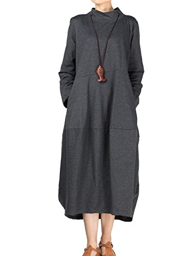 Mordenmiss Women's Autumn Turtleneck Long Baggy Dress with Pockets (L, Gray)