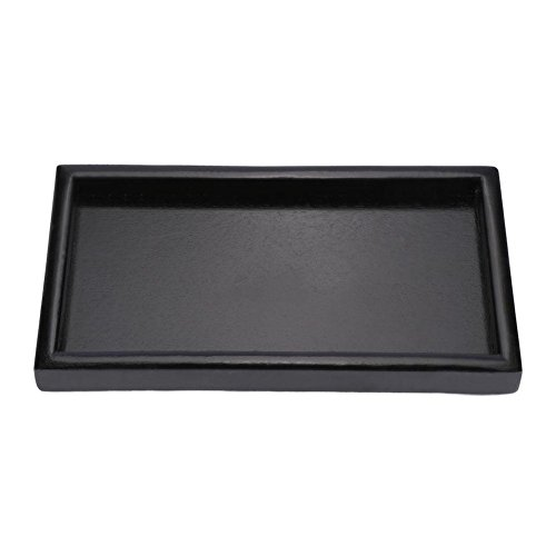 Wooden Serving Tray Rectangle Fruit Tea Breakfast Platter for Home Hotel Cafe Coffee Shop Canteens Black Lacquer (22122cm) by Fdit