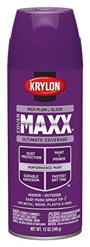 Krylon K09137000 COVERMAXX Spray Paint, Gloss Rich Plum, 12 Ounce -
