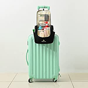 Travel Hanging Toiletry Bag by Hikenture   Cosmetics, Makeup and Toiletries Organizer   Compact Bathroom Storage   TSA Friendly   Home, Gym, Airplane, Hotel, Car Use(Black)