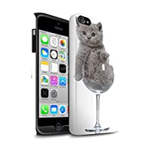STUFF4 Matte Tough Shock Proof Phone Case for Apple iPhone 4/4S / Wine Glass Design / Cute Kittens Collection