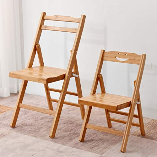 YNGJUEN Massiv träremsa hopfällbar stol bambu massivt ryggstöd hållbar enkel stil arbetsstol lämplig för studier kontor kök fest (storlek: 38 cm x 45 cm x 78 cm)
