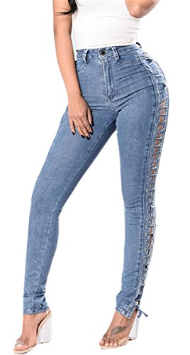 Pants Bleu Fille Split Skinny Femmes Ripped Jeans Bodycon Denim Destroyed Up Pantalons Washed Distressed Lace ZP6wf6dx