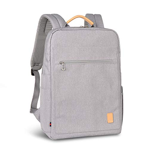 (Business Laptop Backpack for Men Women, Water-Repellent Fabric College School Computer Bag Fits for 13/15.6 Inch Laptop/Notebook, Durable Casual Functional Rucksack Light-Weight Travel Backpack-Gray)