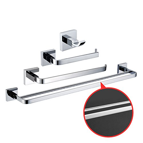 LightInTheBox Solid Brass Bathroom Accessory Sets 4 Pcs Chrome Finish Bath Collection Set owel Bars Robe Hooks Towel Shelf Toilet Paper Holder Towel Rack Shelf