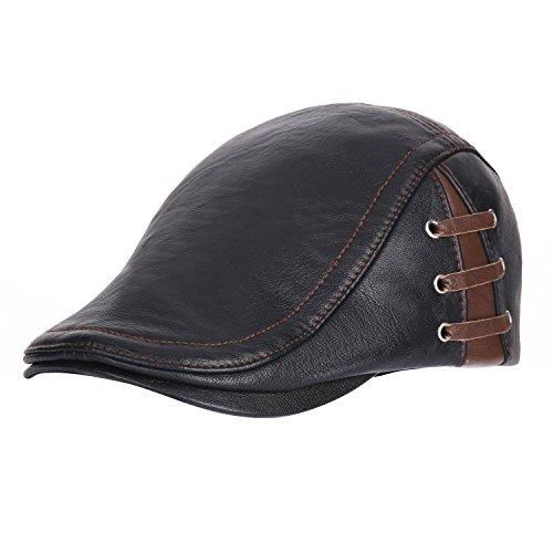berretto uomo piatto piatto Berretto da Cappellino per donna baseball in in pelle Uniquebella sintetica Vintage berretti nero Cap pelle per w1adYZaq