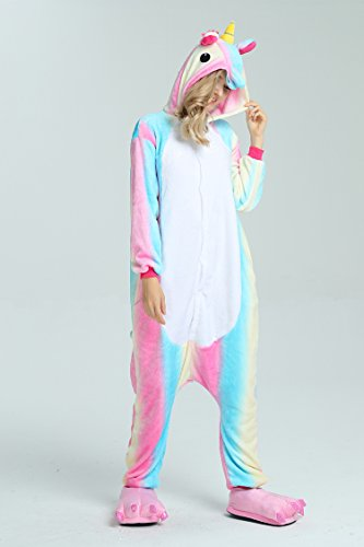 Taiyi Homewear Childrens Unicorn Plush One Piece Onesie Cosplay Animal Costume (12Yrs(height 59''-63''/150cm-160cm), Rainbow Flying Horse) by Taiyi (Image #3)