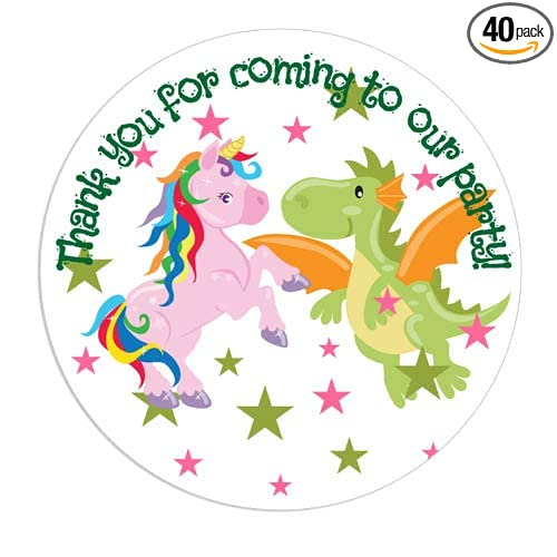 Gender Reveal Party Favor Stickers Twin Baby Shower Birthday Unicorn and Dragon Favor Labels
