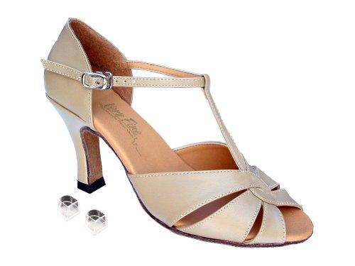Très Bien Dames Femmes Chaussures De Danse De Salon Ek6006 Avec 2.5 Cuir Tan Talon