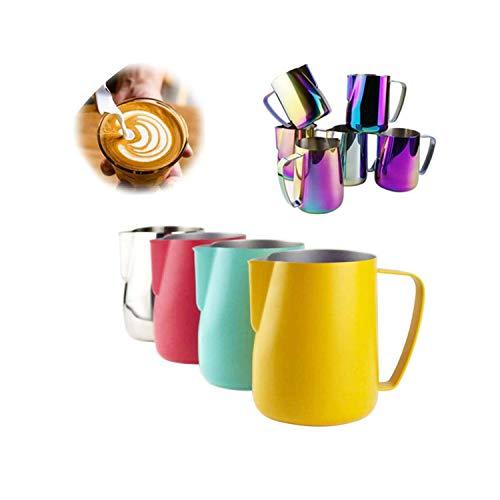 Stainless Steel Milk Pitcher Milk Frothing Jug Milk Foamer Mugs Art Coffee Cup,Titanium,600ml ()