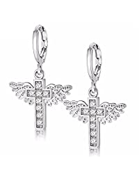 Uloveido Cubic Zirconia Brass Earings Platinum and Gold Plated Angel Wing & Cross Hoop Drop Earrings for Women Christmas Gifts Y199