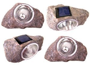 - (2 Pack) Solar Powered Rock Outdoor Garden Accent Pathway Deck Dock Patio Landscape Light