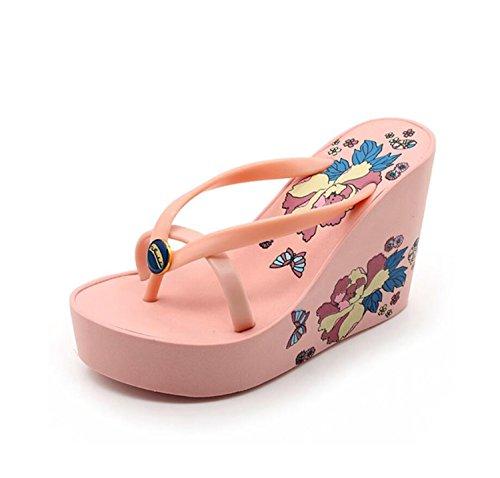DANDANJIE Chancletas para Mujer Sandalias de tacón Grueso con Suela de Moda y tacón Alto Sandalias de tacón Alto Antideslizantes Zapatos caseros Rosado