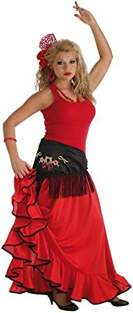 LLOPIS - Disfraz Adulto Falda rociera roja Adulto: Amazon.es ...