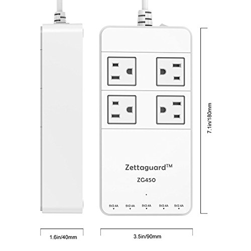 Zettaguard Mini 4-Outlet Travel Power Strip / Surge Protector with USB Charger, White (ZG450) by Zettaguard (Image #3)