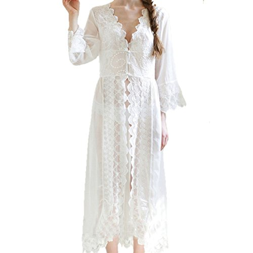 Chiffon Embroidery Nightgown Dress Sheer Lace Nighty Sleepwear Cover up Sexy Robe (small, (White Sheer Nightshirt)