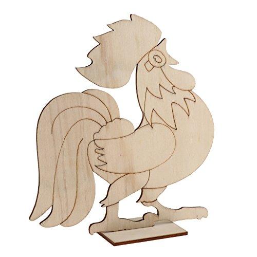 SONONIA 全2種選べ 子供教育用品 未完成 木製 鶏形おもちゃ 着色工芸品 絵画/塗装 DIYクラフト 1ピース - パタン#2 20.7x19cm