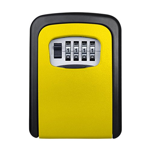 LiPing 4 Digit Outdoor High Security Wall Mounted Key Safe Box Code Secure Lock-Storage (Yellow) by LiPing