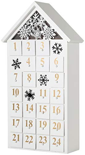 House Advent Calendar - BRUBAKER Advent Calendar - Wooden House - White with LED Lighting 9.5 x 17.7 x 3.1 inches