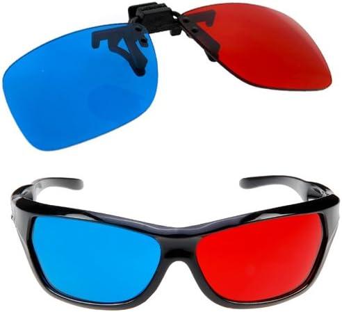 TOOGOO (R) Gafas Rojo-Cian Se Adapta a la Mayoria de Anteojos Recetados para 3D Peliculas Juegos y TV (1 x con Clip; 1x Estilo de Anaglifo): Amazon.es: Hogar