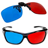 GTMax 2x Red and Cyan Glasses Fits over Most Prescription Glasses for 3D Movies, Gaming and TV 1x Clip On ; 1x Anaglyph style