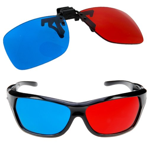GTMax 2x Red and Cyan Glasses Fits over Most Prescription Glasses for 3D Movies, Gaming and TV 1x Clip On ; 1x Anaglyph style -