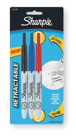 (Sharpie Retractable Permanent Markers, Ultra-Fine Point, Assorted Colors, Pack Of 3 Markers)