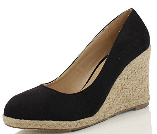 Delicious Women's Parma Round Toe Espadrille Wedge Slip on Sandals, Black, 11 M US Black Wedge Slip Ons
