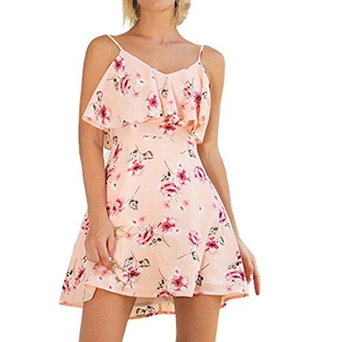 DZT1968® Women Holiday Floral Dresses Ladies Sleeveless Summer Beach Mini Dress (Pink, XL)