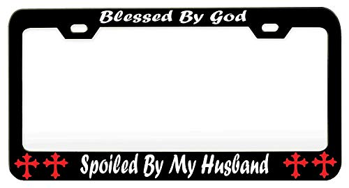 YEX Abstract Blessed by God Spoiled by My Husband 1 License Plate Frame Car License Plate Covers Auto Tag Holder 6