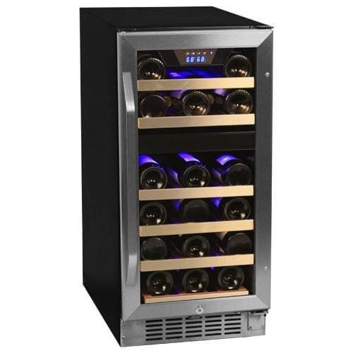EdgeStar CWR262DZ 15 Inch Wide Dual Zone Stainless Steel Built-In Wine Cooler by EdgeStar