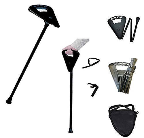 Flipstick Straight Folding Seat Cane Black w/ Black Bag - Non-Adjustable