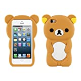 kwmobile Little Bear Silicone Case for Apple iPhone SE / 5 / 5S - Soft Silicone Gel Protective Cover with Cute Design